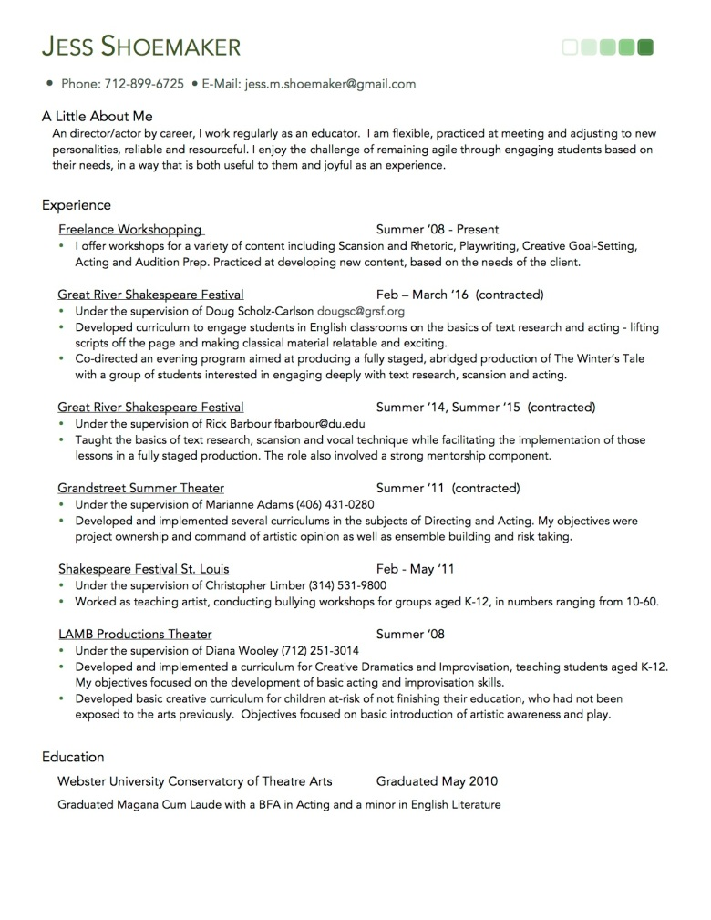 Jess Shoemaker - Education Resume